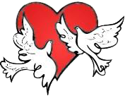 A red heart with two white doves